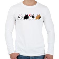 PRINTFASHION Francia bulldog kiskutyák - Férfi hosszú ujjú póló - Fehér férfi póló