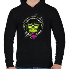 PRINTFASHION Funky majom - Férfi kapucnis pulóver - Fekete