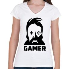 PRINTFASHION GAMER - Női V-nyakú póló - Fehér