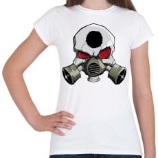 PRINTFASHION Gasmask skull - Női póló - Fehér