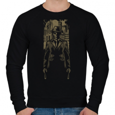 PRINTFASHION Gengszter koponya - Férfi pulóver - Fekete