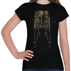 PRINTFASHION Gengszter koponya - Női póló - Fekete