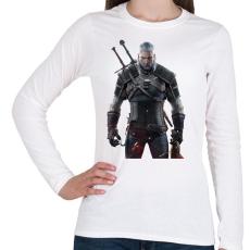 PRINTFASHION Geralt - Női hosszú ujjú póló - Fehér