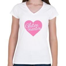 PRINTFASHION gluten-free-love-pink - Női V-nyakú póló - Fehér