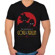 PRINTFASHION Goku és Krillin - Férfi V-nyakú póló - Fekete