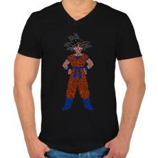 PRINTFASHION Goku - Férfi V-nyakú póló - Fekete