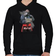 PRINTFASHION Gorilla thai box - Férfi kapucnis pulóver - Fekete