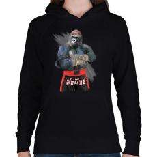 PRINTFASHION Gorilla thai box - Női kapucnis pulóver - Fekete