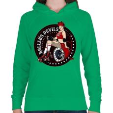 PRINTFASHION Görkorcsolyás ördögök - Női kapucnis pulóver - Zöld