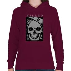 PRINTFASHION Gyilkos - Női kapucnis pulóver - Bordó