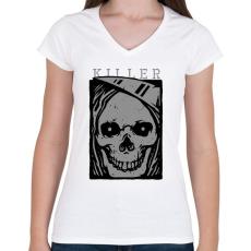 PRINTFASHION Gyilkos - Női V-nyakú póló - Fehér