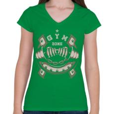 PRINTFASHION GYM ZONE - Női V-nyakú póló - Zöld
