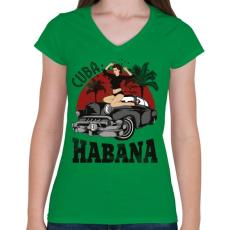 PRINTFASHION Habana - Női V-nyakú póló - Zöld