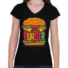 PRINTFASHION Hamburger - Női V-nyakú póló - Fekete