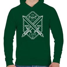 PRINTFASHION Harc az élet - Férfi kapucnis pulóver - Sötétzöld