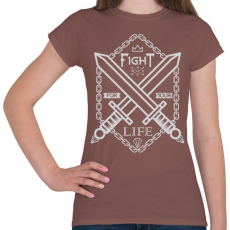 PRINTFASHION Harc az élet - Női póló - Mogyoróbarna