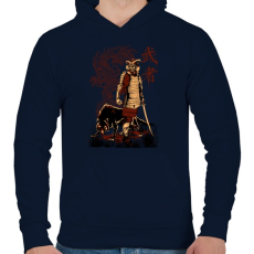 PRINTFASHION Harcos - Férfi kapucnis pulóver - Sötétkék