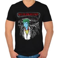 PRINTFASHION Határok - Férfi V-nyakú póló - Fekete