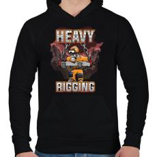 PRINTFASHION Heavy Rigging - Férfi kapucnis pulóver - Fekete