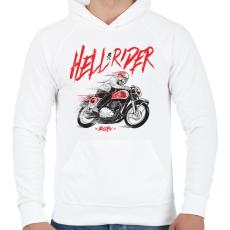 PRINTFASHION Hell Rider - Férfi kapucnis pulóver - Fehér