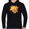 PRINTFASHION Hibiscus, - Férfi kapucnis pulóver - Fekete