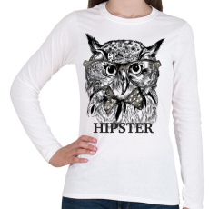 PRINTFASHION Hipster bagoly - Női hosszú ujjú póló - Fehér