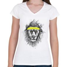 PRINTFASHION Hipster lion - Női V-nyakú póló - Fehér