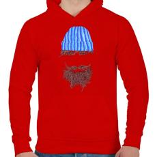 PRINTFASHION Hipszter - Férfi kapucnis pulóver - Piros