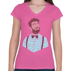 PRINTFASHION Hipszter - Női V-nyakú póló - Rózsaszín