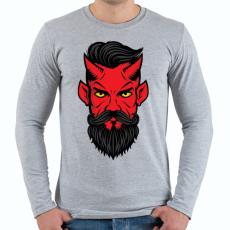 PRINTFASHION Hipszter sátán - Férfi hosszú ujjú póló - Sport szürke