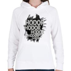PRINTFASHION HODOR - Női kapucnis pulóver - Fehér