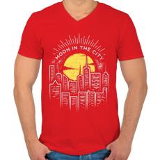 PRINTFASHION Holdfény  - Férfi V-nyakú póló - Piros