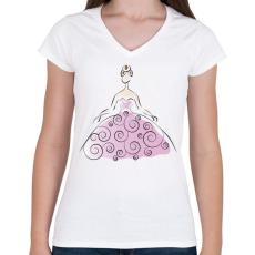 PRINTFASHION Hölgy - Női V-nyakú póló - Fehér