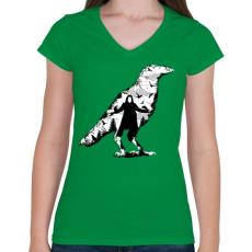 PRINTFASHION Holló - Női V-nyakú póló - Zöld