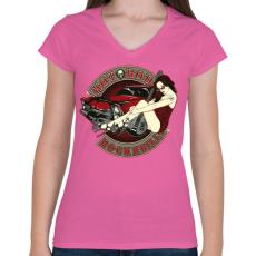 PRINTFASHION Hot road rockabilly - Női V-nyakú póló - Rózsaszín