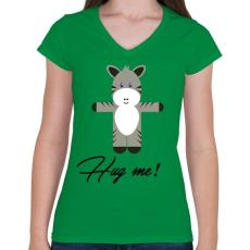 PRINTFASHION Hug me! - Női V-nyakú póló - Zöld
