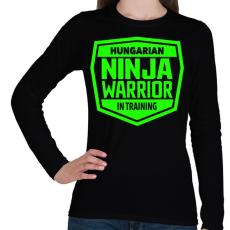 PRINTFASHION Hungarian Ninja Warrior - Női hosszú ujjú póló - Fekete