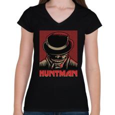 PRINTFASHION HUNTMAN - Női V-nyakú póló - Fekete