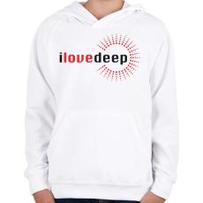PRINTFASHION i-love-deep-grey-red - Gyerek kapucnis pulóver - Fehér