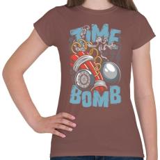 PRINTFASHION Időbomba - Női póló - Mogyoróbarna
