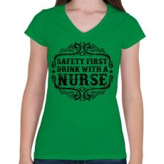PRINTFASHION Igyál a nővérrel - Női V-nyakú póló - Zöld