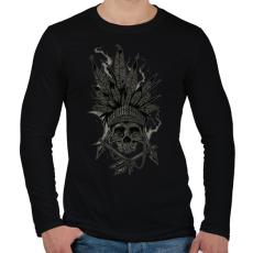 PRINTFASHION Indián koponya - Férfi hosszú ujjú póló - Fekete