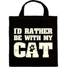 PRINTFASHION Inkább a macskámmal vagyok - Vászontáska - Fekete
