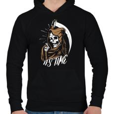 PRINTFASHION Itt az idő - Férfi kapucnis pulóver - Fekete