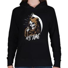 PRINTFASHION Itt az idő - Női kapucnis pulóver - Fekete
