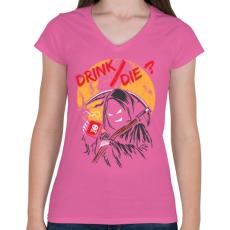 PRINTFASHION Ivás/halál ? - Női V-nyakú póló - Rózsaszín