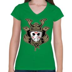 PRINTFASHION Jason a szamuráj  - Női V-nyakú póló - Zöld