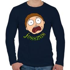 PRINTFASHION Jesszus Morty - Férfi hosszú ujjú póló - Sötétkék