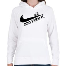 PRINTFASHION Just farm it - Női kapucnis pulóver - Fehér