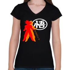 PRINTFASHION Kakarotto - Női V-nyakú póló - Fekete
